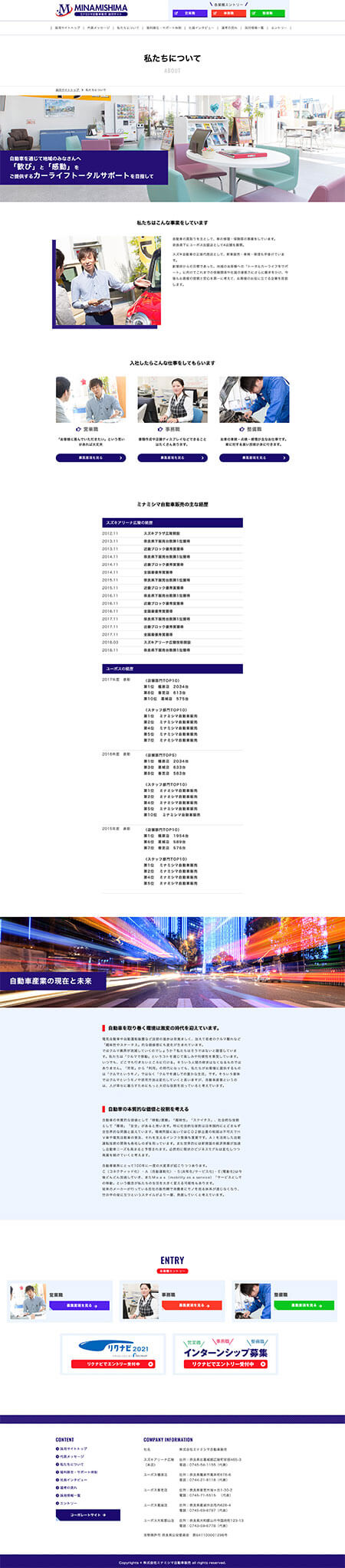 (株)ミナミシマ自動車販売 採用サイト